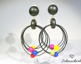 Earrings black, silver colored beads, earrings wooden beads, earrings, earrings, wood earrings, earrings rings, gift birthday