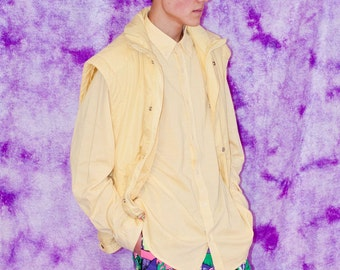 SALE // yellow xl ski vest jacket / 90s / 80s / hip hop / vaporwave / casual / prince of bel air / winter / sleeveless