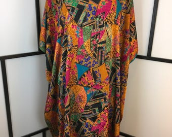 Colorful Caftan, Women's Vintage Caftan, House Dress, Ethnic Print Dress, Cruise Wear, Beach Coverup, Coco Bay, One Size