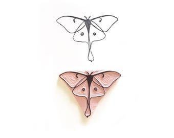 Luna Moth Rubber Stamp | 025136