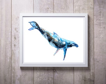 Whale art print, giclee print, coastal beach print,   humpback whale, whale painting, watercolor print, whale gift  8x10 11x14, gift idea