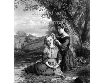 The SISTERS Engraving Reproduction by G. Smith, museum quality giclée print available in 3 sizes