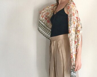 30% Off - Vintage silky scarf | Italian design | Flower Foulard Autumn colors