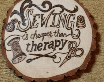 Woodburned Coaster Sewing Theme