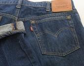 SALE! Dark indigo single stitch Levis 505 zip fly leather patch jeans 36 waist 32 length 1970s NOT big E great vintage conditio rivet pocket