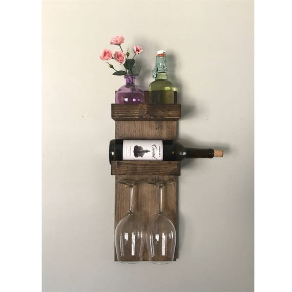 Rustic modern wine rack for small spaces 2 bottle 2 glass Wine racks for small spaces pict