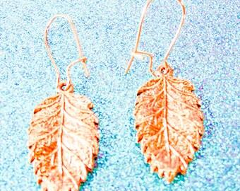COPPER LEAF EARRINGS, copper leaf jewelry, leaf earrings,leaf jewelry, copper kidney earwire, nature earrings, nature jewelry, copper - 1714