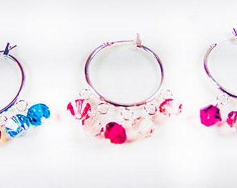 SILVER CRYSTAL HOOPS, Swarovski crystals, turquoise crystals, rose crystals, fushia crystals, crystal hoops, hoop earrings, hoops - 1825