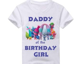 Trolls Birthday Shirt for Dad.  2nd Birthday 3rd Birthday 4th Birthday 5th Birthday birthday 6th Birthday