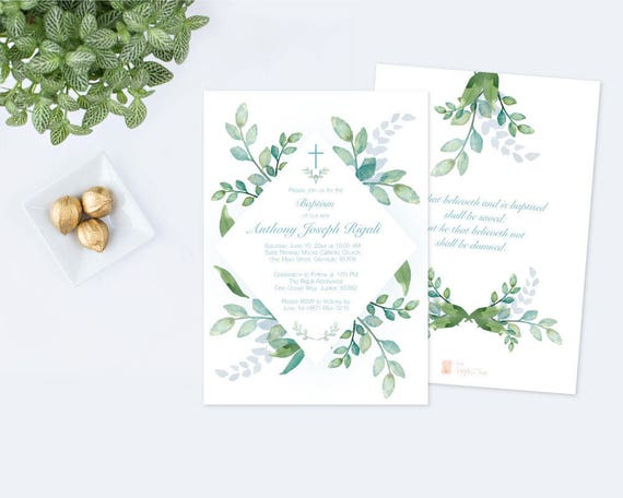 instant download customizable text baptism invitation boy greenery