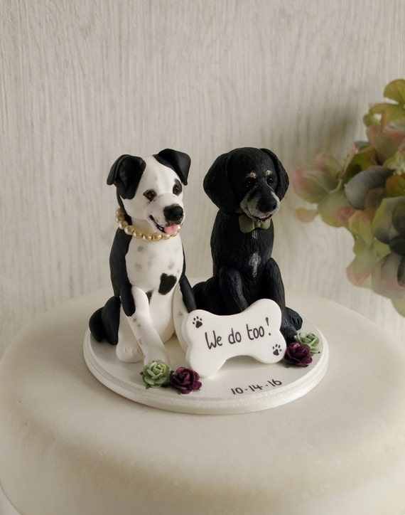 wedding cake topper two dogs wedding cake topper custom cake topper two 26645