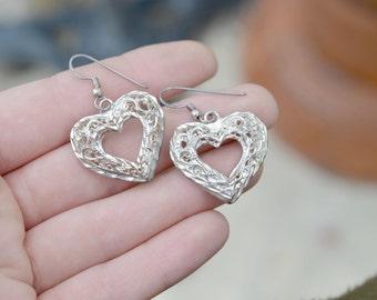 Sterling Silver Valentine's Day Filigree Heart Dangle Earrings