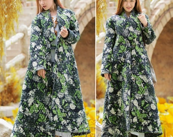 Anysize Pockets Winter double-breasted linen&cotton A-line maple leaf dress plus size dress plus size clothing F10A