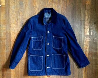Vintage 1960s Mens WRANGLER Blue Bell Flannel Lined Indigo Denim CHORE COAT Jean Jacket Size Small 38 Levis Lee Jeans