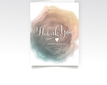 Thank You Custom Cards & Envelopes . Watercolor Agate Crystal Stone Blush Teal Mint Gold . Printed Heavy Weight Premium Folded Cards Box Set