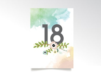 The HAYLEY . Table Number Watercolor Set . Anenome Magnolia Garland Teal Green Blush Pink Gold Wedding . 5 x 7 Double Sided Printed Card