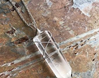 Phantom Quartz Crystal Point Pendant - Stainless Steel Wire Wrapped Phantom Quartz Crystal Point Necklace - Raw Crystal Point Necklace