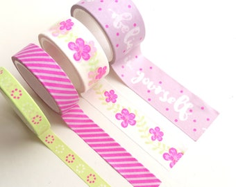 Set of 4 patterned washi tapes | floral / flowers | stripes | believe in yourself |