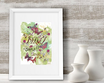 Nature lover gift, Nature quote print, Wall decor, Inspirational art print