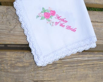 Summer weddings Gift for mom Mother of the bride pink handkerchief from daughter Wedding gift for mother of the bride gift wedding hankies