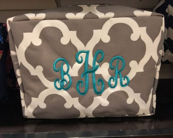 Quatrefoil Print Monogrammed Cosmetic Case Toiletry Bag Gray and White