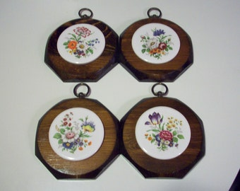 Vintage Botanical Floral Wall decor, decorative ceramic tile on handcrafted pine, made in U.S.A.. set of 4, country kitchen decor