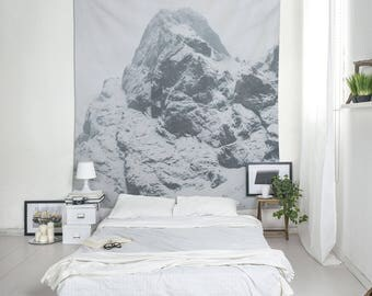 Cool Tapestries, Mountain Tapestry, Mount Wall Art, Grey Tapestry, Winter Room Decor, Nature Tapestry, Photo Tapestries, Cloth Wall Hangings