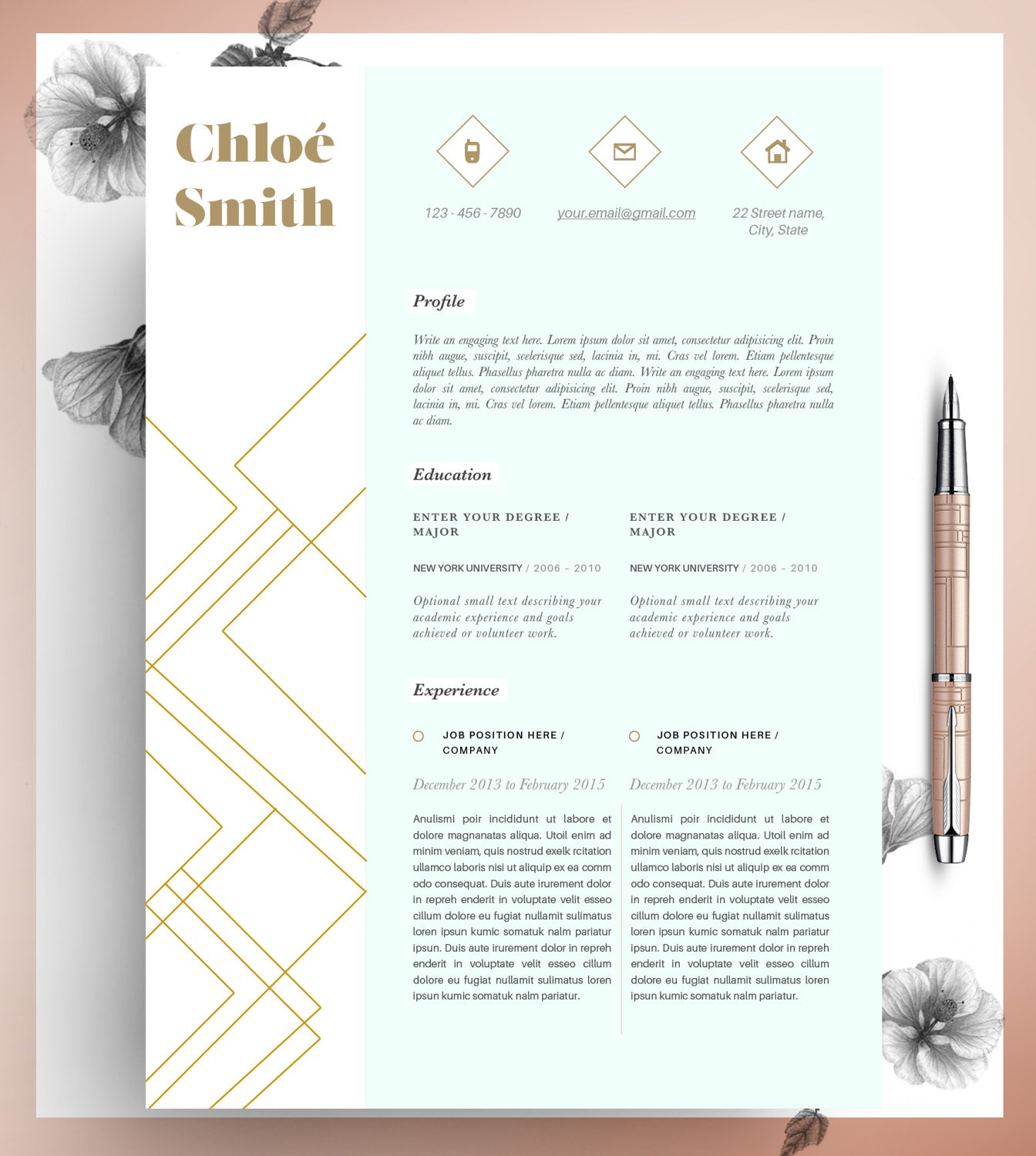 creative professional resume template cv template editable in