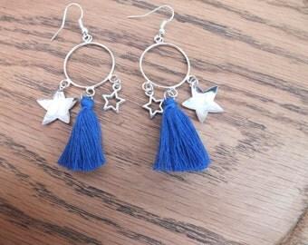 Star earrings, blue tassel earrings, silver and blue earrings, charm earrings