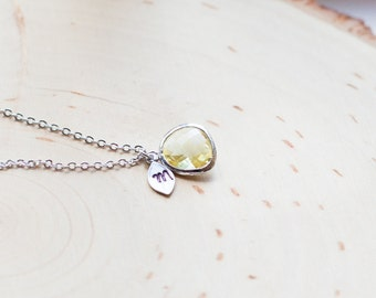 November Birthstone Necklace, Initial Necklace, Birthstone Jewelry, November  Birthday Jewelry, Personalized Necklace, Citrine  Topaz /342