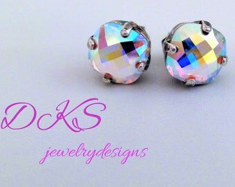 Glimmer, 8mm Swarovski Stud Earrings, High Sparkle, Rainbow, Square, Bridal, DKSJewelrydesigns, FREE SHIPPING