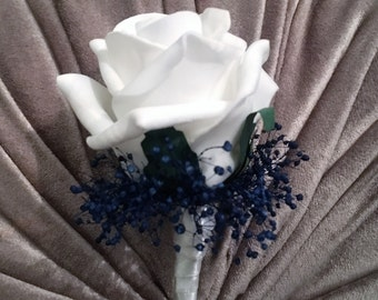 Artificial White Rose and Navy Blue Buttonhole/Boutonniere, Groom, Bestman, Groomsmen, Ring bearer