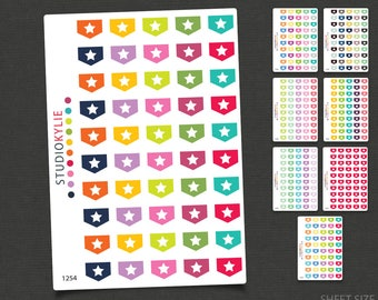 Mini Star Flags -  Planner Stickers  - Repositionable Matte Vinyl to suit all planners