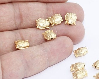 10 Pcs 24k Gold Plated Ladybug Charms, Ladybug Jewelry , Gold Plated Charms, 9x12mm,  BRT631