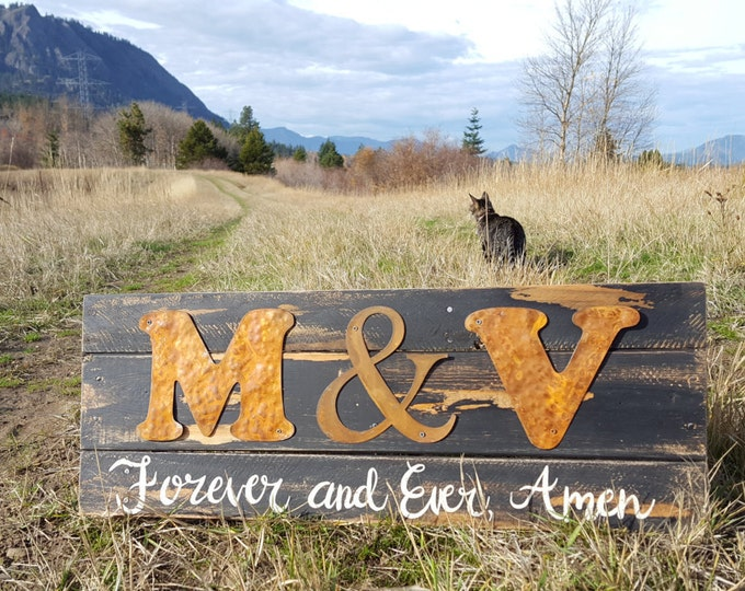 Wood Initial Sign, Forever and Ever Amen, Rustic Farmhouse Sign, Wedding gift, Wedding decor, Farmhouse Fixer Upper Style, Personalized