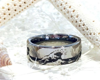 ocean ring wave ring custom wedding ring wedding band his and her
