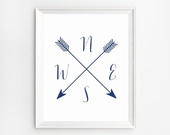 Arrow Compass, Compass Printable, Compass Print, Cardinal Directions Art, Navy blue wall art,  NWES Prints, Arrow artwork, Compass poster