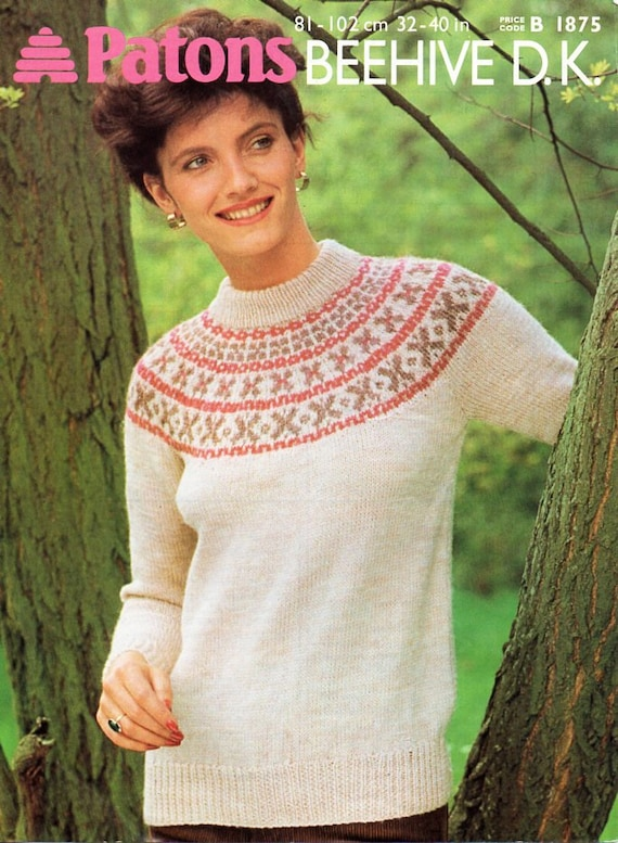 womens fair isle sweater knitting pattern PDF DK ladies fairisle ...