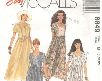 McCall's 8649 Size 8, 10, 12  Women's raised waist short sleeve dress sewing pattern.  Button bodice, princess seam bodice, gathered skirt