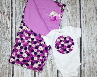 Purple Baby Blanket. Purple Flower Baby Blanket. Purple Receiving Blanket. Purple Flower Receiving Blanket. Flower Blanket. Baby Blanket.