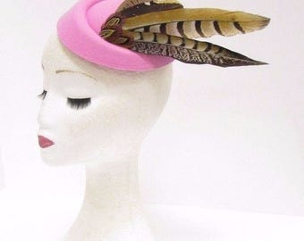 Light Pink Brown Feather Pillbox Hat Hair Fascinator Races Ascot Headpiece 2340