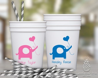Baby Shower Cups | Personalized Plastic Cup | Monogram Cups | Baby Elephant Party Favor Cups | Party Cups | social graces and Co.