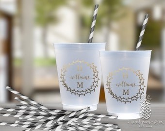 Wedding Party Cups | Personalized Frosted Cup | Monogrammed Cups | Personalized Plastic Cups | Garland Wedding Cups | social graces Co.