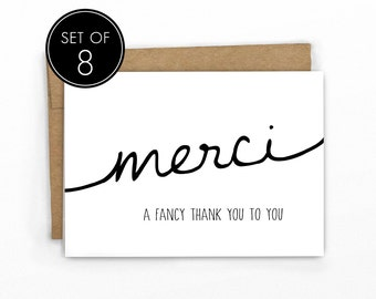 Funny Thank You Cards | Set of 8 | A Fancy Thank You! by Cypress Card Co.