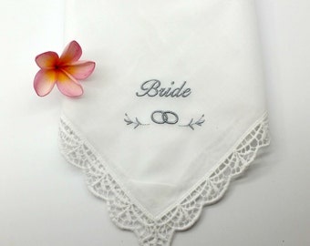 Bride Embroidered on a White Wedding Handkerchief with Lace Edge, Bridal Hanky for the Bride.