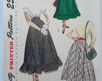 Vintage 1950's Simplicity 2609 Waist 28 Hip 37 Misses Teen-age Juniors Skirt  Ruffled Hem Pattern