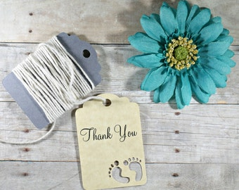 Antique Gold  Baby Shower Tags 20pc - Neutral Shower Favors - Thank You Tags - Gift Tags - Neutral Baby Favor Tags - Baby Feet Theme