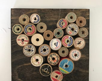 Vintage Spools of Thread Heart Wood Wall Hanging