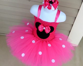 Minnie Mouse Tutu Dress, Minnie Mouse Tutu, Minnie Mouse Costume, Hot Pink Minnie, Minnie Mouse Birthday Outfit, Minnie Mouse Dress,
