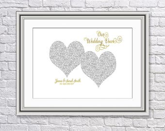 Real Foil, Custom, Personalised Wedding Vows Prints, Bride & Groom Vows, Wedding Gift, Anniversary Gift, Valentine Gift, Wedding Present